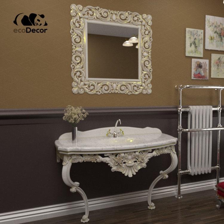 Зеркало в ванную белое с золотом Addis