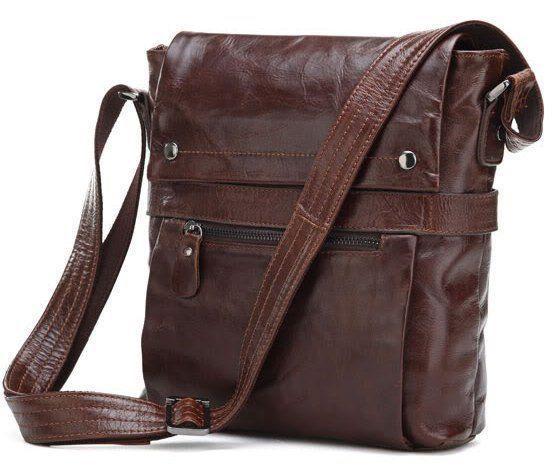 Стильная мужская сумка из натуральной кожи 14119, Коричневый