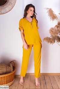 Женский летний брючный костюм с блузкой горчичного цвета размеры 42-44, 46-48