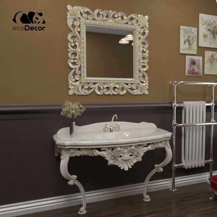 Зеркало в ванную белое с золотом Ababa
