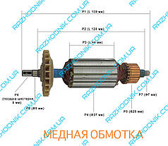 Якорь на болгарку Einhell BWS-850/125 (НОВАЯ СЕРИЯ Ф37)