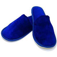 Тапочки велюровые для дома/отеля Luxyart, синий, закрытый носок, в упаковке 10 пар (ZF-241)