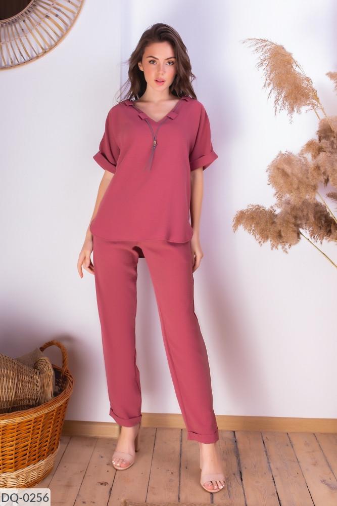 Женский летний брючный костюм с блузкой размеры 42-44, 46-48 розовый