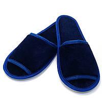 Тапочки велюровые для дома/отеля Luxyart, синий, открытый носок, в упаковке 10 пар (ZF-236)