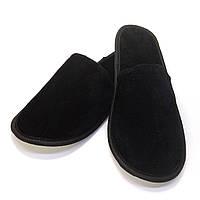 Тапочки велюровые для дома/отеля Luxyart, черный, закрытый носок, в упаковке 10 пар (ZF-340)