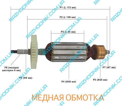 Якорь на болгарку Интерскол УШМ-125/1100 Э, фото 2