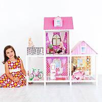 """Игровой набор для девочки """"Большой двухэтажный кукольный дом"""" (с набором кукол, мебелью, аксессуарами))"""