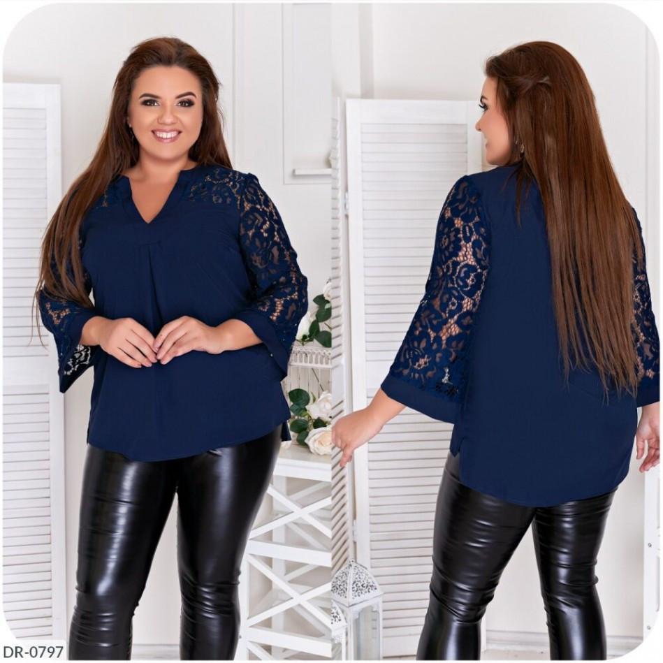 Жіноча блуза з софту та гипюру
