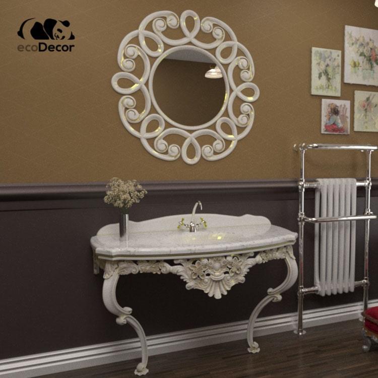 Дзеркало для ванної біле з золотому Jaipur R3