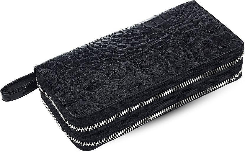 Кошелек-клатч CROCODILE LEATHER 18023 из натуральной кожи крокодила Черный, Черный