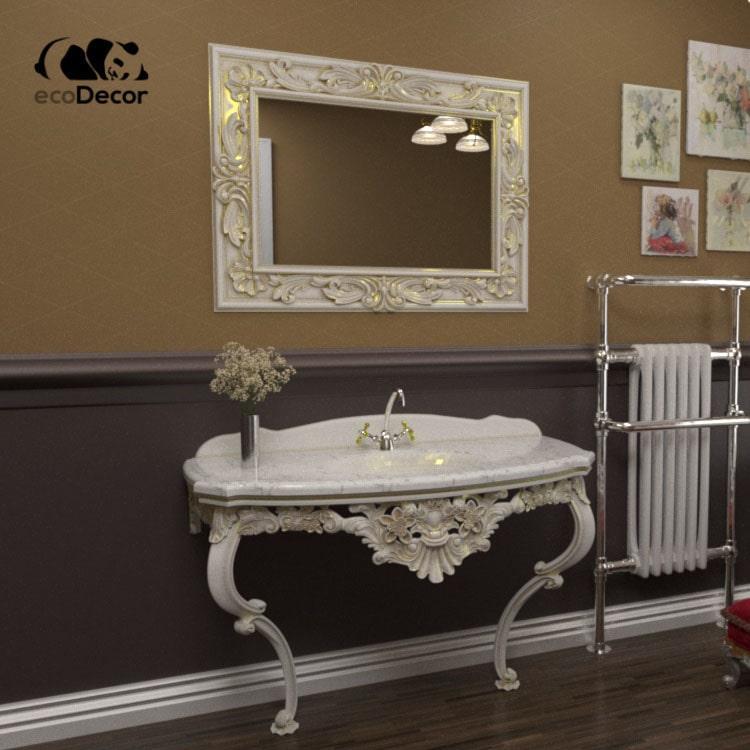 Зеркало в ванную белое с золотом Duesseldorf