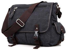Сумка мужская Vintage 14413 текстильная Серая, Серый