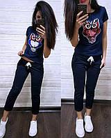 Летний женский костюм Сова футболка и капри батал, фото 1