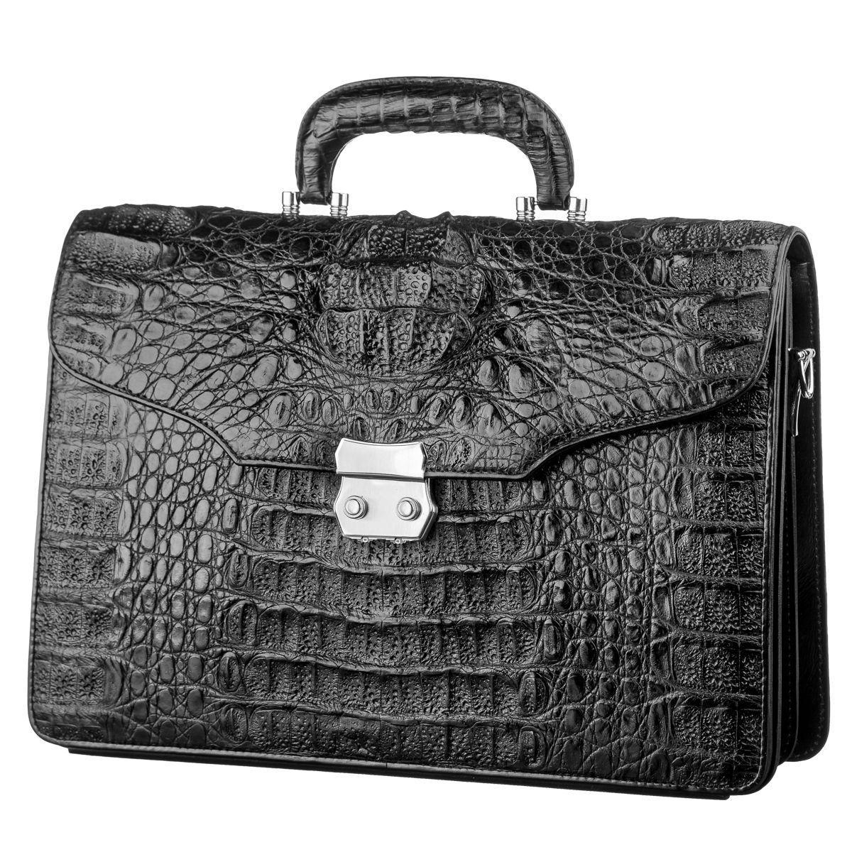 Портфель CROCODILE LEATHER 18048 из натуральной кожи крокодила Черный, Черный
