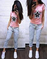 Летний женский костюм Звезда футболка и капри батал, фото 1