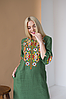 Женское платье с вышивкой Ровена зеленая, фото 3