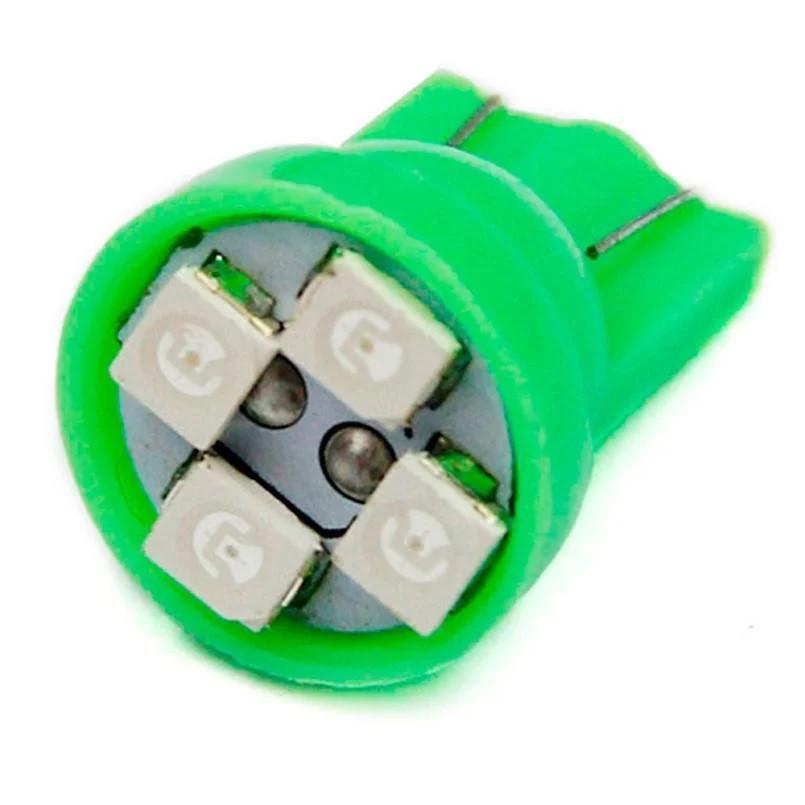 T10 4-SMD LED W5W лампочка автомобільна зелений