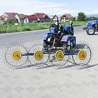 Грабли Солнышко Сеноворошилка к мотоблоку ворошилки для сгребание травы, сена на 4 колеса
