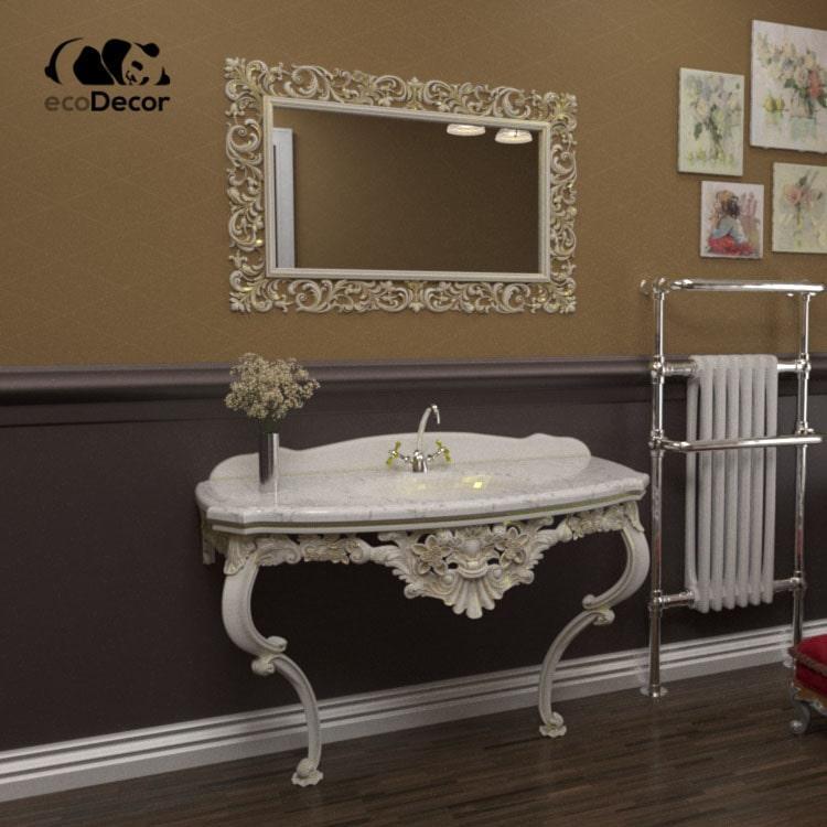 Зеркало в ванную белое с золотом Medan