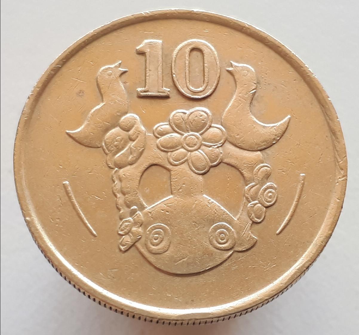 Кипр 10 центов 1990