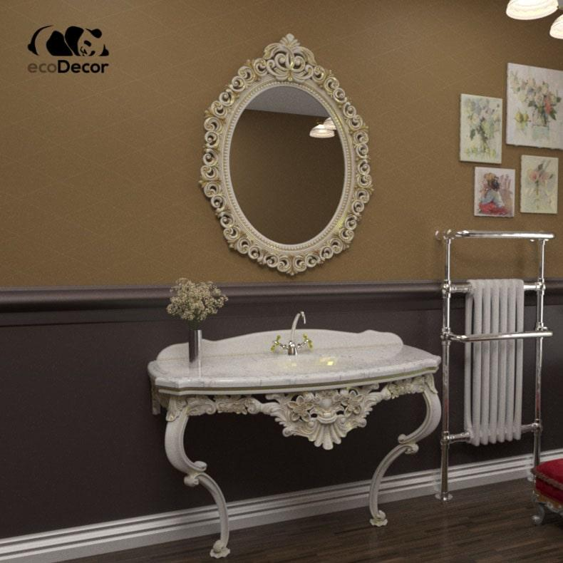 Зеркало в ванную белое с золотом Cairo