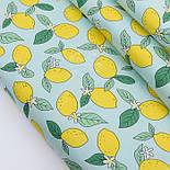 """Отрез сатина """"Лимоны на мятном"""" №2595с, размер 77*160, фото 2"""