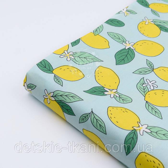 """Отрез сатина """"Лимоны на мятном"""" №2595с, размер 77*160"""