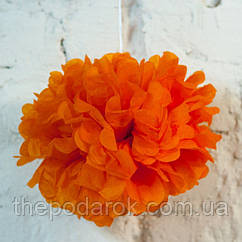 Декор бумажные помпоны (оранжевый) 20см