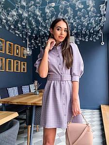 Платье рубашка в клеточку с объемными рукавами 42 44 р