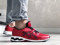 Мужские кроссовки Asics Gel-Kayano 25, сетка, пена, красные с черным и белым.