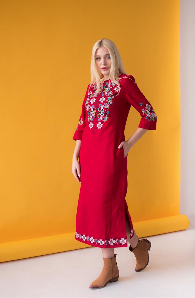 Платье вышиванка Ровена бордо