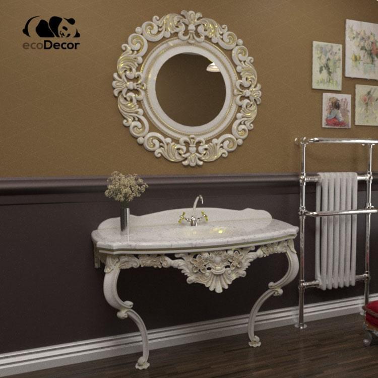 Зеркало в ванную белое с золотом Luxembourg