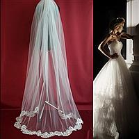 Вау! Длинная свадебная Фата с аппликацией расшита бисером и пайетками SF для Невесты Айвори (sf-341)