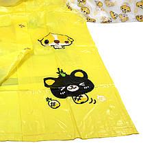 Плащ-дождевик Lesko детский водонепроницаемый с местом под рюкзак желтый размер M многоразовый, фото 3