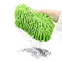 Автомобильная губка для мытья машины Lesko 11*23*5.5 см Green с впитывающим эффектом мойка авто