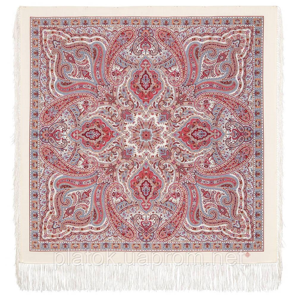 Шелковые травы 1894-3, павлопосадский платок шерстяной (двуниточная шерсть) с шелковой бахромой