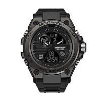 Часы наручные мужские SANDA 739 Black с двойным дисплеем спортивные кварцевые влагозащищенные