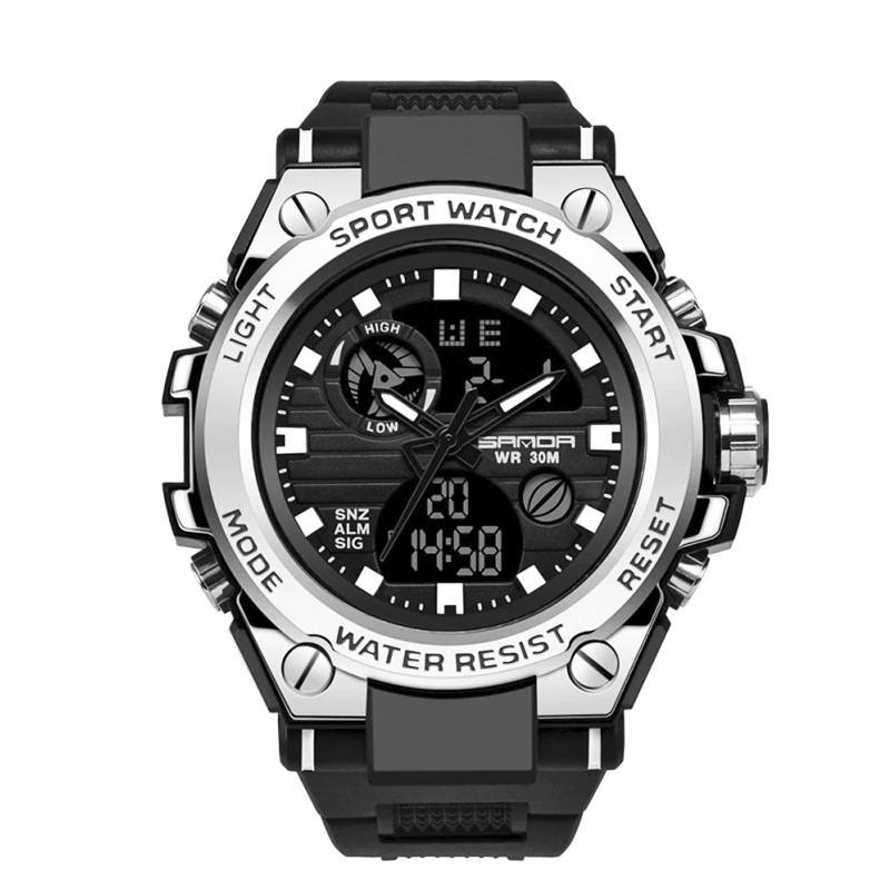 Часы наручные мужские SANDA 739 Silver с двойным дисплеем спортивные кварцевые влагозащищенные