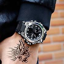 Часы наручные мужские SANDA 739 Silver с двойным дисплеем спортивные кварцевые влагозащищенные, фото 2
