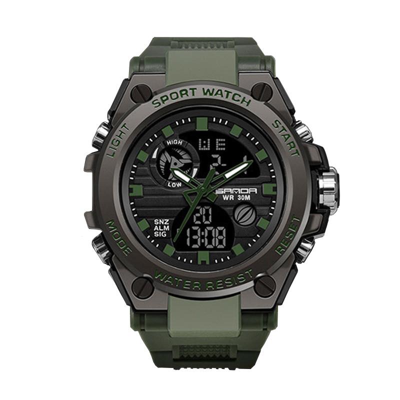 Часы наручные мужские SANDA 739 Green с двойным дисплеем спортивные кварцевые влагозащищенные