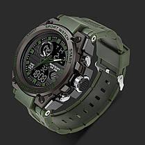 Часы наручные мужские SANDA 739 Green с двойным дисплеем спортивные кварцевые влагозащищенные, фото 3