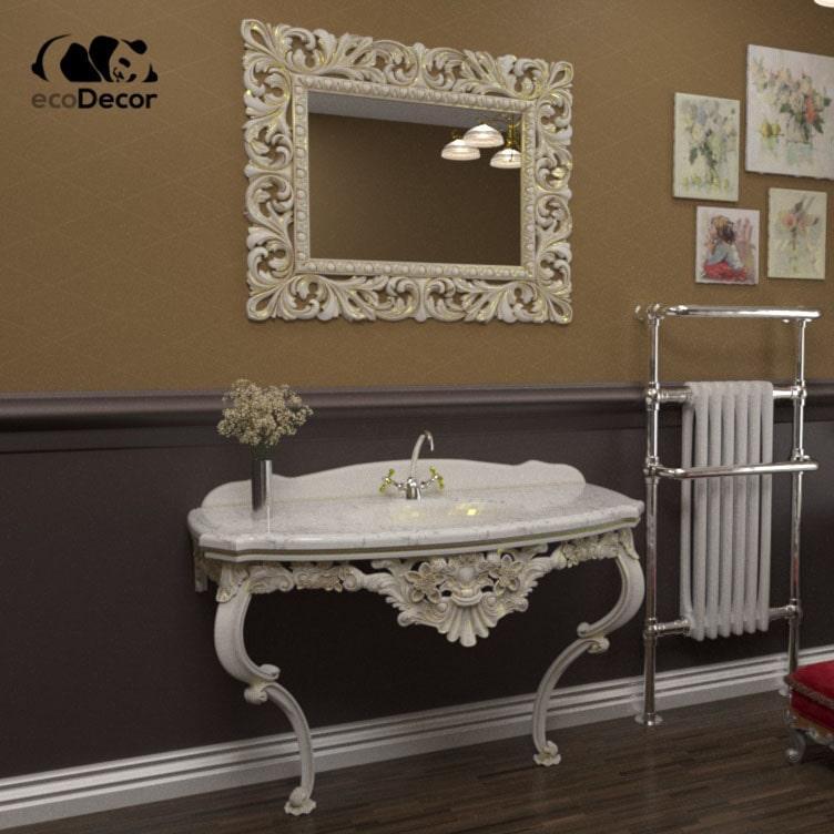 Зеркало в ванную белое с золотом  Dodoma