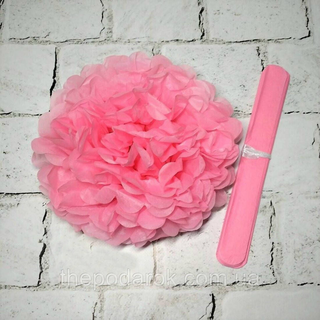 Декор паперові помпони (рожевий) 30 см
