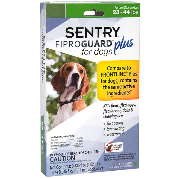 Краплі Sentry FiproGuard Plus від бліх, кліщів і вошей для собак вагою 10-20 кг 1 піпетка