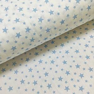 Ткань муслин Двухслойная звездопад голубой на белом (шир. 1,6 м) ОТРЕЗ (0,7*1,6) УЦЕНКА