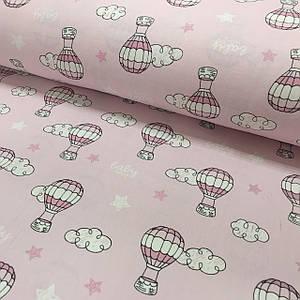 Ткань муслин Двухслойная воздушные шары и облака на розовом (шир. 1,6 м) ОТРЕЗ (0,55*1,6)
