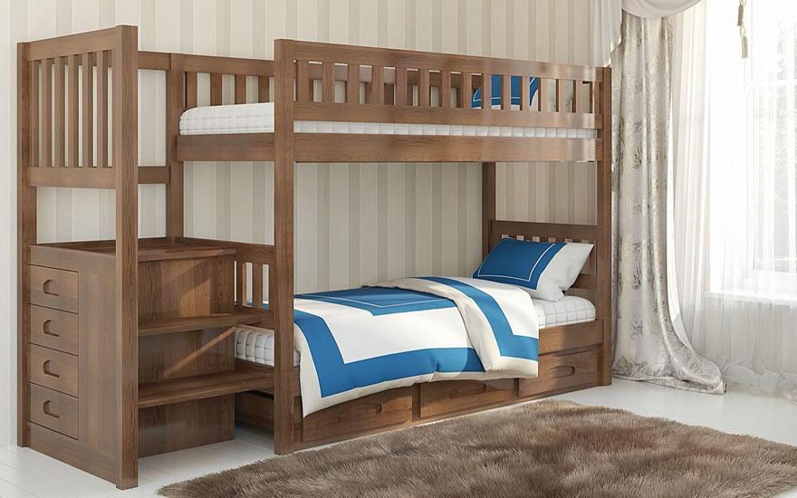 Кровать Владимир двухъярусная 90х200 с ящиками под лестницей Venger