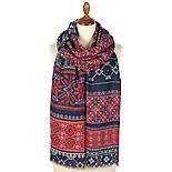 Палантин шерстяной 10398-5, павлопосадский шарф-палантин шерстяной (разреженная шерсть) с осыпкой, фото 2