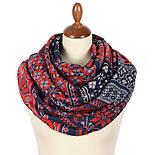 Палантин шерстяной 10398-5, павлопосадский шарф-палантин шерстяной (разреженная шерсть) с осыпкой, фото 3