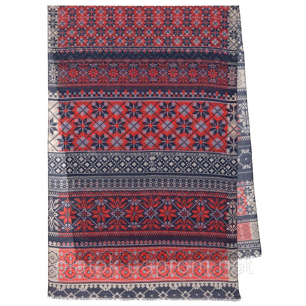 Палантин шерстяной 10398-5, павлопосадский шарф-палантин шерстяной (разреженная шерсть) с осыпкой